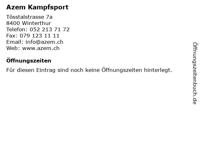 Azem Kampfsport in Winterthur: Adresse und Öffnungszeiten