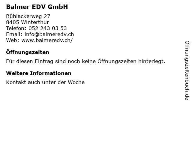 Balmer EDV GmbH in Winterthur: Adresse und Öffnungszeiten