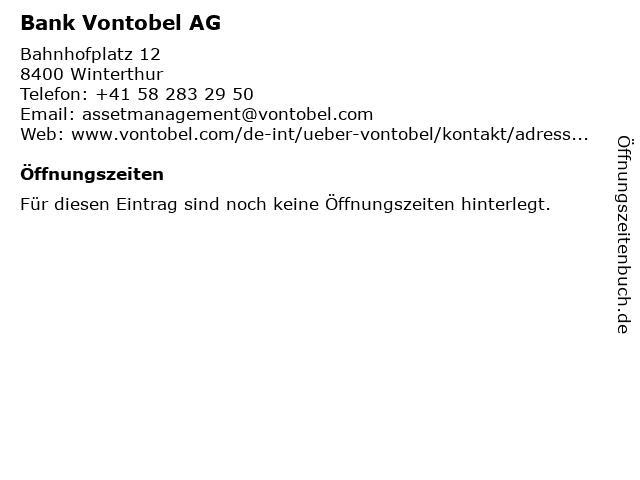 Bank Vontobel AG in Winterthur: Adresse und Öffnungszeiten