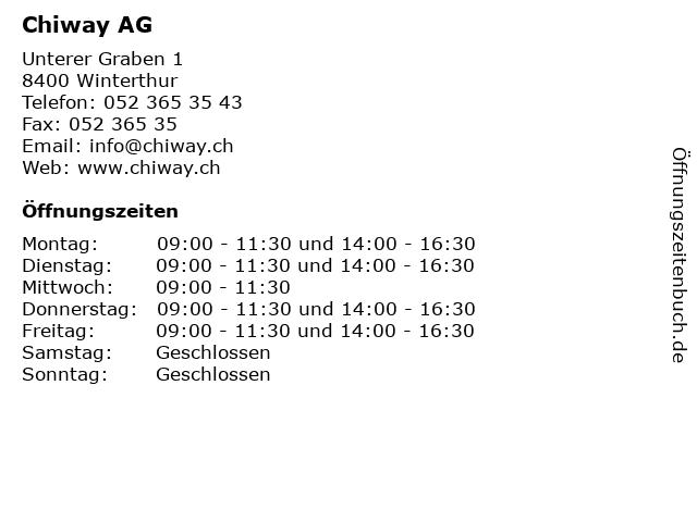 Chiway AG in Winterthur: Adresse und Öffnungszeiten