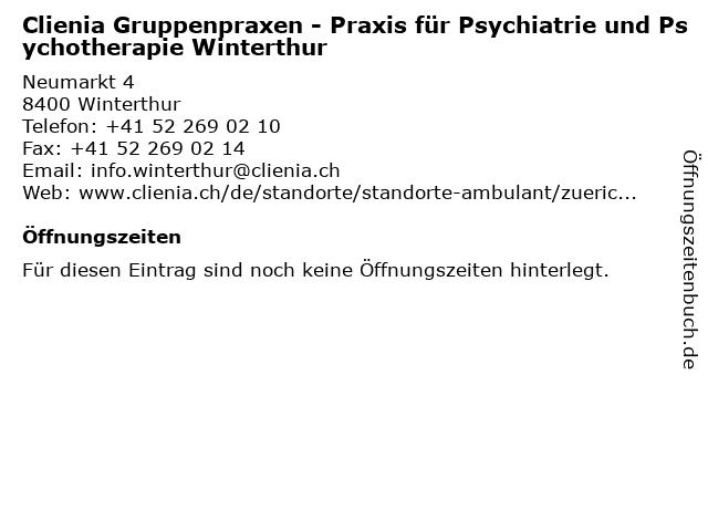 Clienia Gruppenpraxen - Praxis für Psychiatrie und Psychotherapie Winterthur in Winterthur: Adresse und Öffnungszeiten
