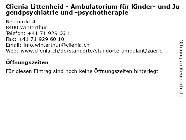 Clienia Littenheid - Ambulatorium für Kinder- und Jugendpsychiatrie und -psychotherapie in Winterthur: Adresse und Öffnungszeiten