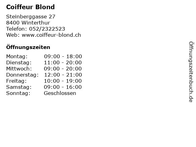 Coiffeur Blond in Winterthur: Adresse und Öffnungszeiten