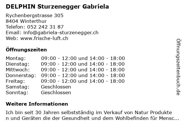 DELPHIN Sturzenegger Gabriela in Winterthur: Adresse und Öffnungszeiten