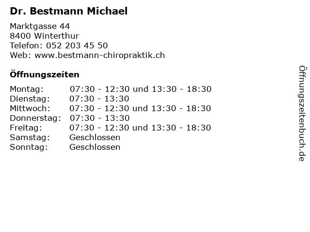 Dr. Michael Bestmann in Winterthur: Adresse und Öffnungszeiten