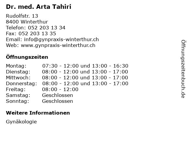 Dr. med. Arta Tahiri in Winterthur: Adresse und Öffnungszeiten