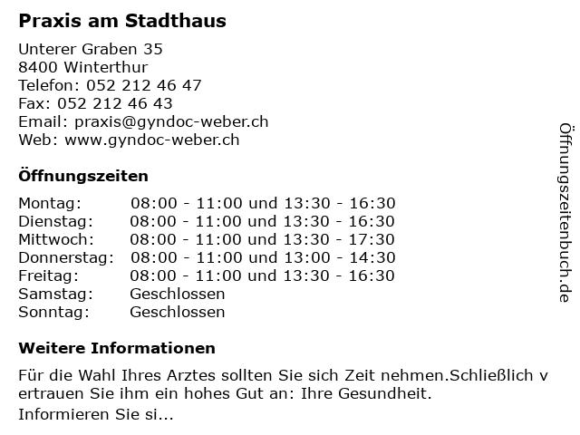 Dr. med. Hans Jochen Weber in Winterthur: Adresse und Öffnungszeiten