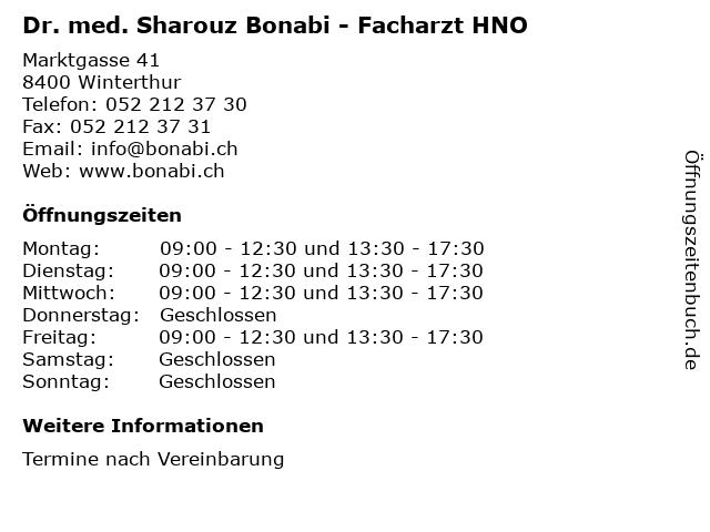 Dr. med. Sharouz Bonabi - Facharzt HNO in Winterthur: Adresse und Öffnungszeiten