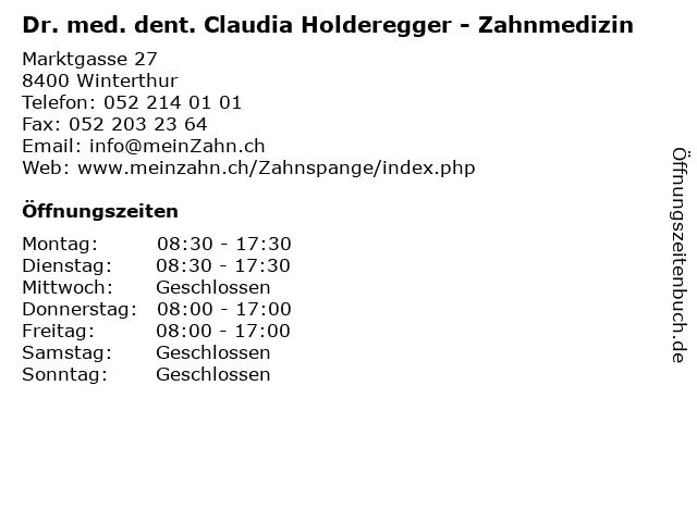 Dr. med. dent. Claudia Holderegger - Zahnmedizin in Winterthur: Adresse und Öffnungszeiten