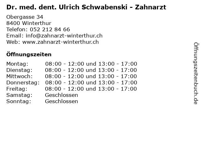 Dr. med. dent. Ulrich Schwabenski - Zahnarzt in Winterthur: Adresse und Öffnungszeiten