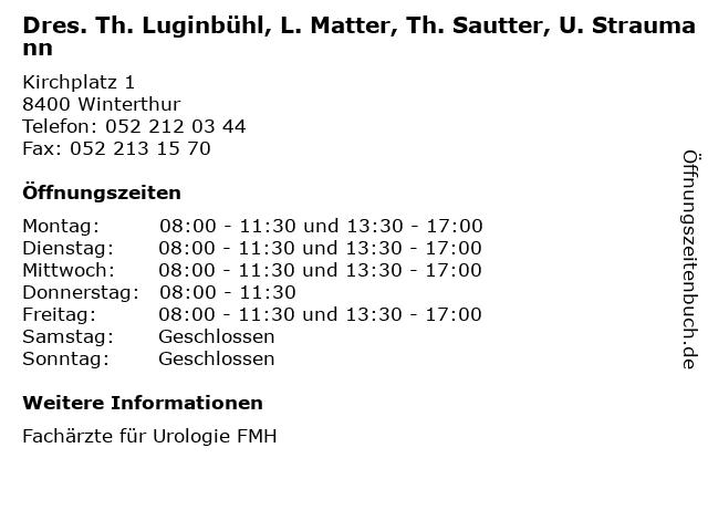 Dres. Th. Luginbühl, L. Matter, Th. Sautter, U. Straumann in Winterthur: Adresse und Öffnungszeiten