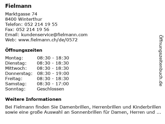 Fielmann in Winterthur: Adresse und Öffnungszeiten