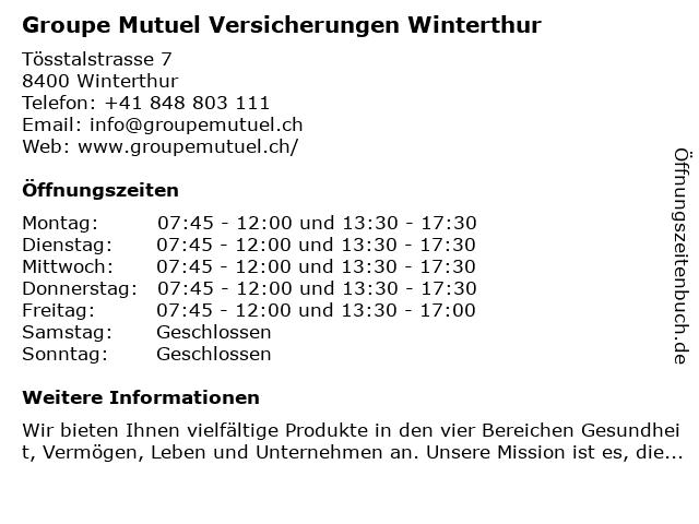 Groupe Mutuel Versicherungen Winterthur in Winterthur: Adresse und Öffnungszeiten