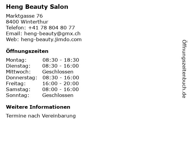 Heng Beauty Salon in Winterthur: Adresse und Öffnungszeiten