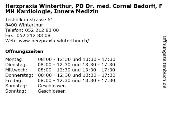 Herzpraxis Winterthur, PD Dr. med. Cornel Badorff, FMH Kardiologie, Innere Medizin in Winterthur: Adresse und Öffnungszeiten