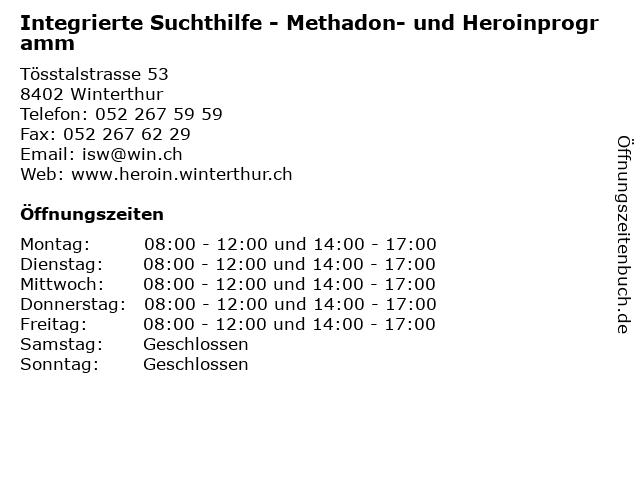 Integrierte Suchthilfe - Methadon- und Heroinprogramm in Winterthur: Adresse und Öffnungszeiten