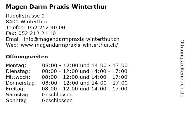 Magen Darm Praxis Winterthur in Winterthur: Adresse und Öffnungszeiten