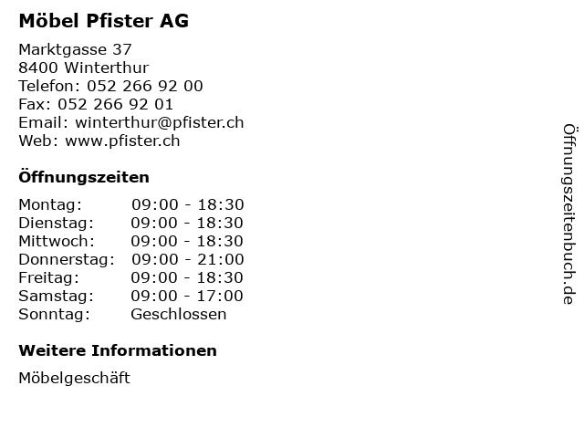 ᐅ öffnungszeiten Möbel Pfister Ag Marktgasse 37 In Winterthur