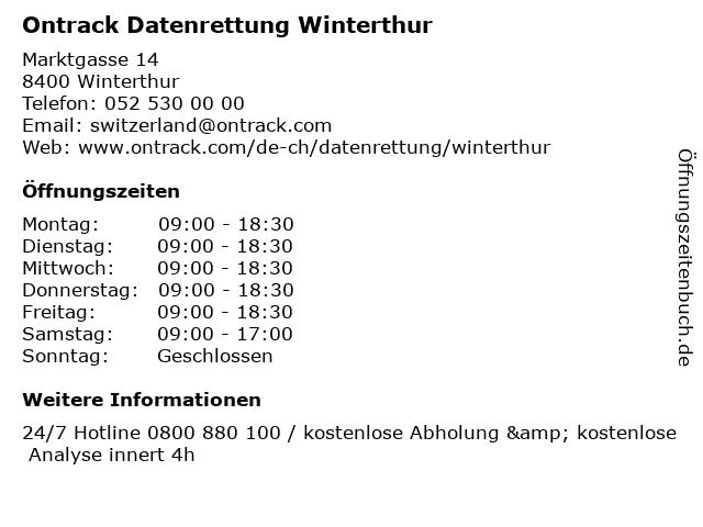 Ontrack Datenrettung Winterthur in Winterthur: Adresse und Öffnungszeiten