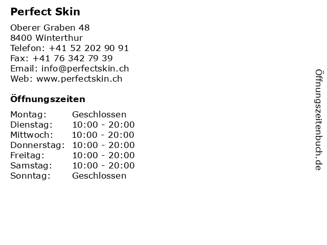 Perfect Skin in Winterthur: Adresse und Öffnungszeiten
