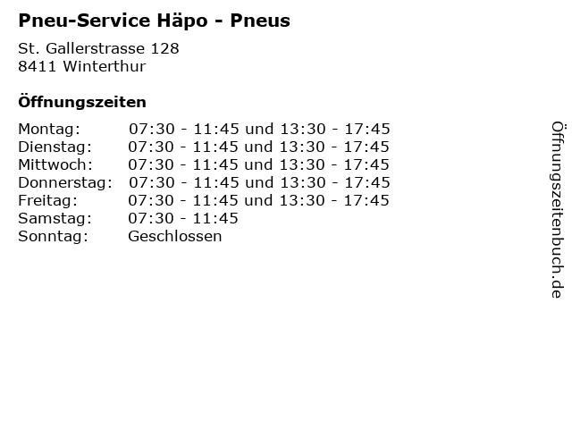 Pneu-Service Häpo - Pneus in Winterthur: Adresse und Öffnungszeiten