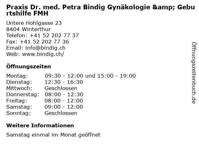 Praxis Dr. med. Petra Bindig Gynäkologie & Geburtshilfe FMH in Winterthur: Adresse und Öffnungszeiten