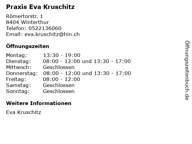 Praxis Eva Kruschitz in Winterthur: Adresse und Öffnungszeiten