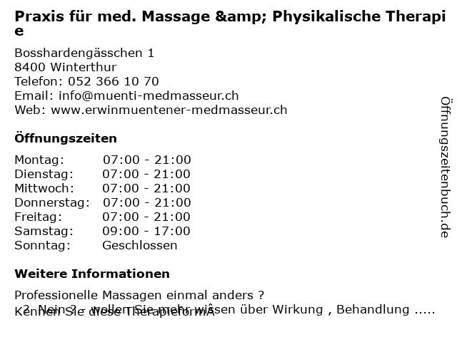 Praxis für med. Massage & Physikalische Therapie in Winterthur: Adresse und Öffnungszeiten