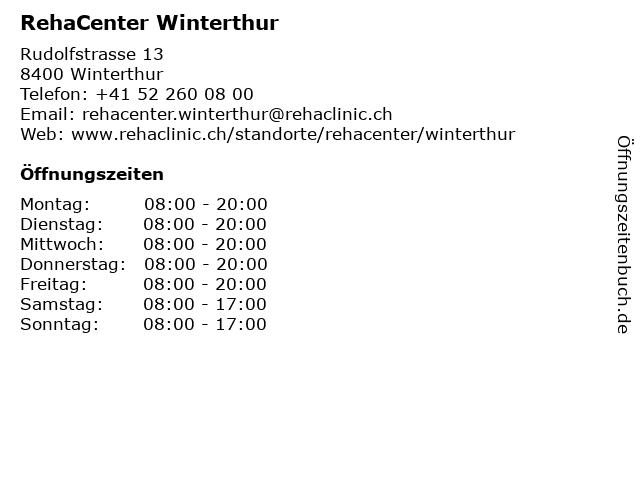 RehaCenter Winterthur in Winterthur: Adresse und Öffnungszeiten