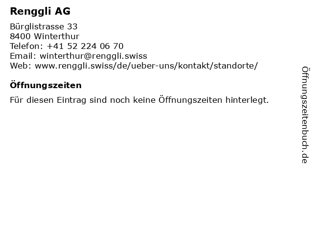 Renggli AG in Winterthur: Adresse und Öffnungszeiten