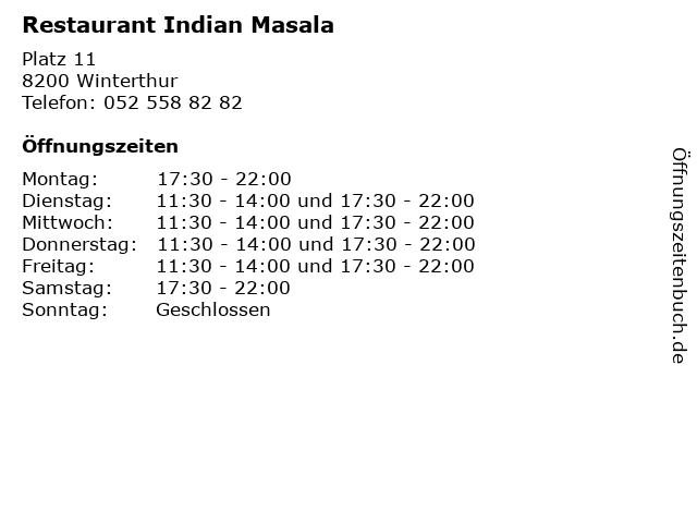 Restaurant Indian Masala in Winterthur: Adresse und Öffnungszeiten