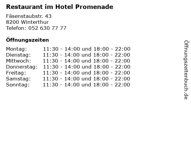 Restaurant im Hotel Promenade in Winterthur: Adresse und Öffnungszeiten