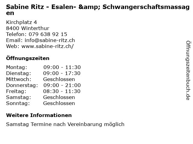Sabine Ritz - Esalen- & Schwangerschaftsmassagen in Winterthur: Adresse und Öffnungszeiten