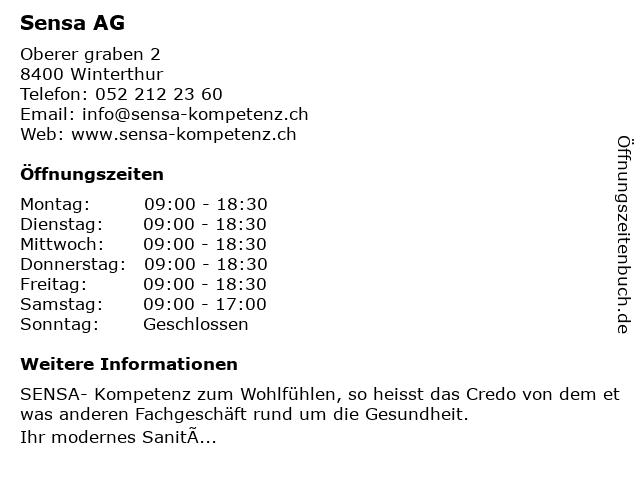 Sensa AG in Winterthur: Adresse und Öffnungszeiten