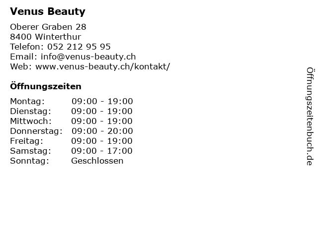 Venus Beauty in Winterthur: Adresse und Öffnungszeiten