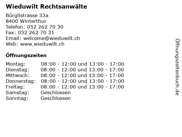 Wieduwilt Rechtsanwälte in Winterthur: Adresse und Öffnungszeiten
