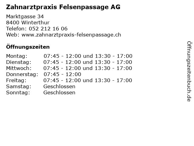 Zahnarztpraxis Felsenpassage AG in Winterthur: Adresse und Öffnungszeiten