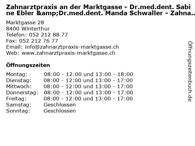 Zahnarztpraxis an der Marktgasse - Dr.med.dent. Sabine Ebler &Dr.med.dent. Manda Schwaller - Zahnarzt in Winterthur: Adresse und Öffnungszeiten