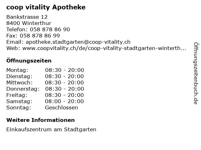 coop vitality Apotheke in Winterthur: Adresse und Öffnungszeiten