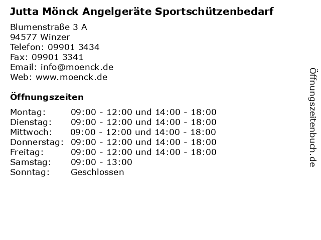 Jutta Mönck Angelgeräte Sportschützenbedarf in Winzer: Adresse und Öffnungszeiten