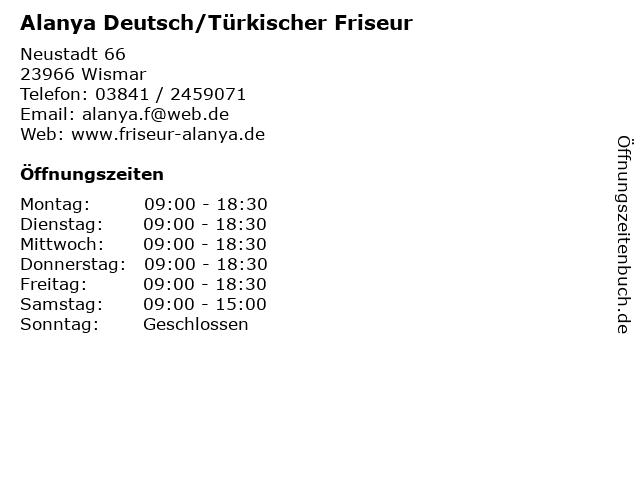 Alanya Deutsch/Türkischer Friseur in Wismar: Adresse und Öffnungszeiten