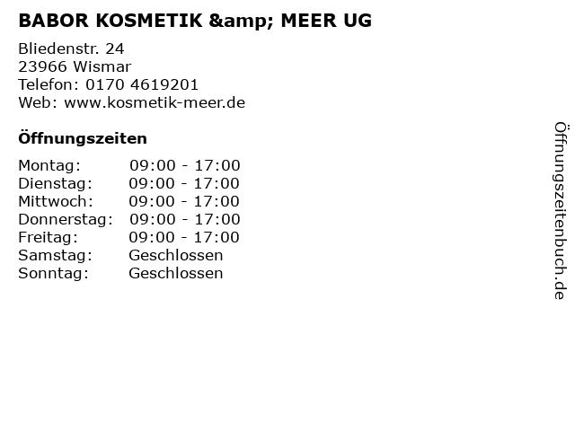 BABOR KOSMETIK & MEER UG in Wismar: Adresse und Öffnungszeiten