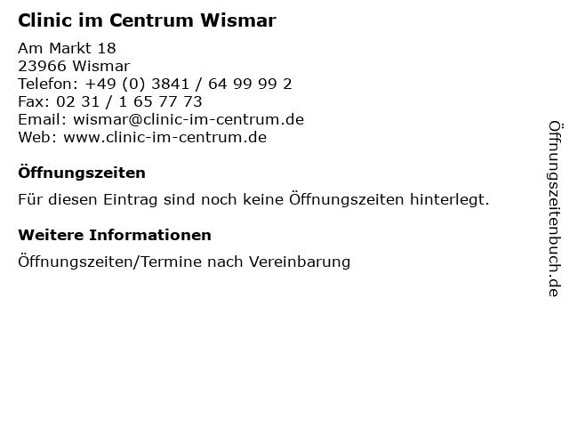Clinic im Centrum Wismar in Wismar: Adresse und Öffnungszeiten