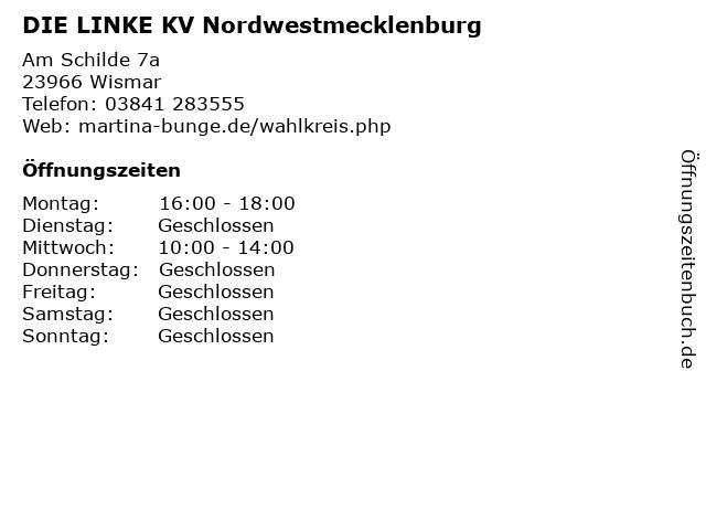 DIE LINKE KV Nordwestmecklenburg in Wismar: Adresse und Öffnungszeiten