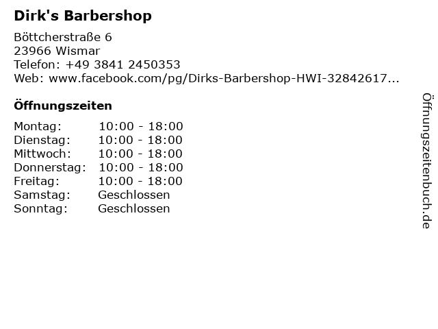 Dirk's Barbershop in Wismar: Adresse und Öffnungszeiten