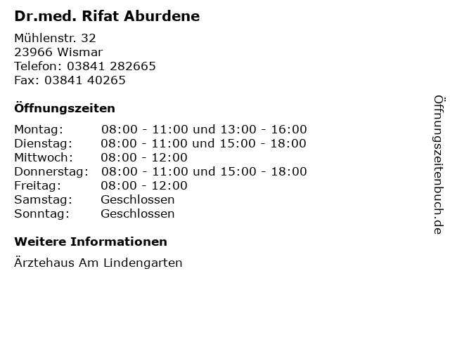 Dr.med. Rifat Aburdene in Wismar: Adresse und Öffnungszeiten