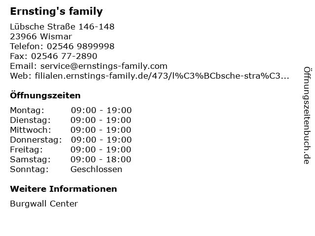 Ernsting's family GmbH & Co. KG in Wismar: Adresse und Öffnungszeiten