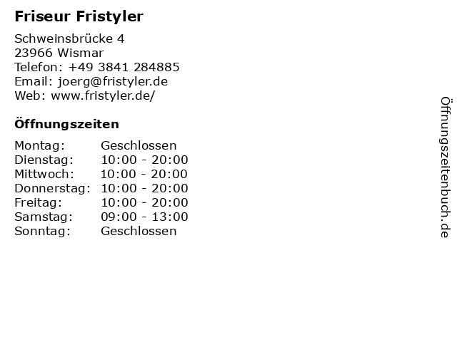 Friseur Fristyler in Wismar: Adresse und Öffnungszeiten