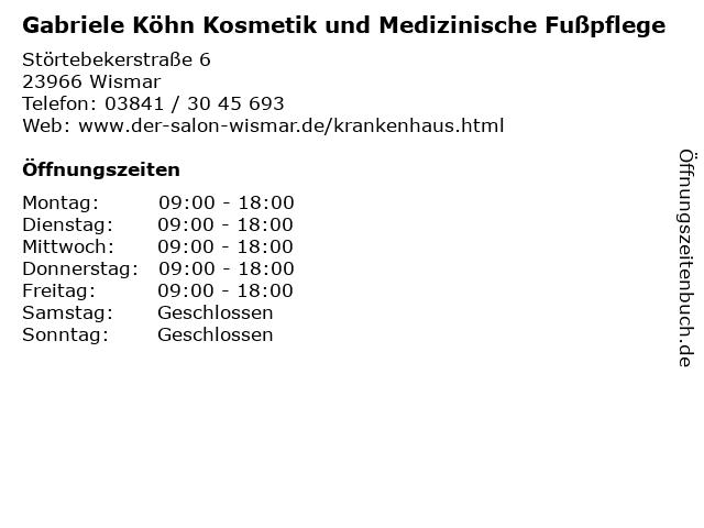 Gabriele Köhn Kosmetik und Medizinische Fußpflege in Wismar: Adresse und Öffnungszeiten