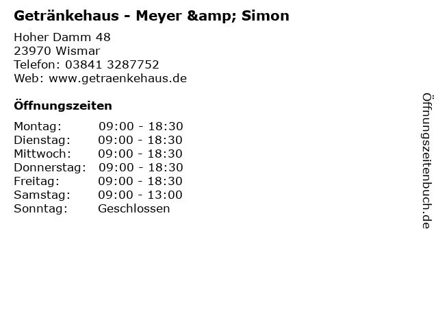 Getränkehaus - Meyer & Simon in Wismar: Adresse und Öffnungszeiten